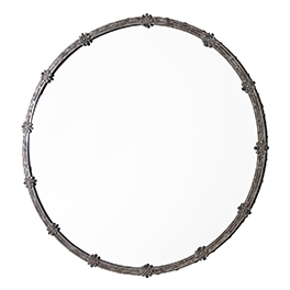 Circular Metal Mirror with Flower Joints (D70)