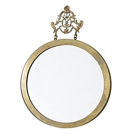 Round Mirror with Crown Hook