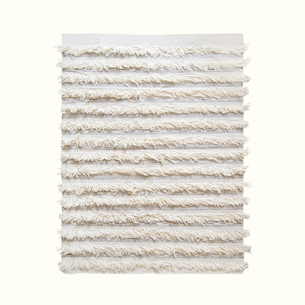 White Fringe Rug