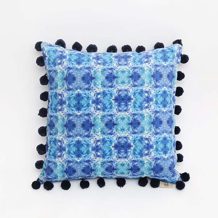 Ripples Cushion with Navy Pompoms