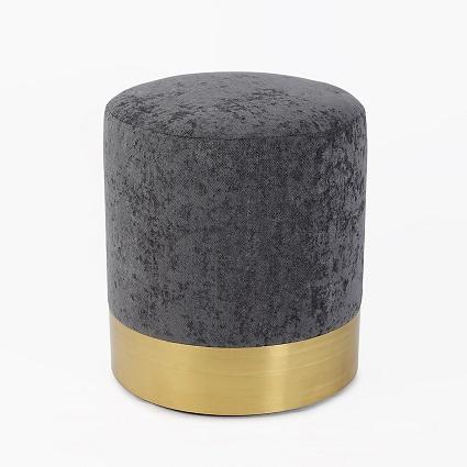 Palermo Grey Brass Pouf