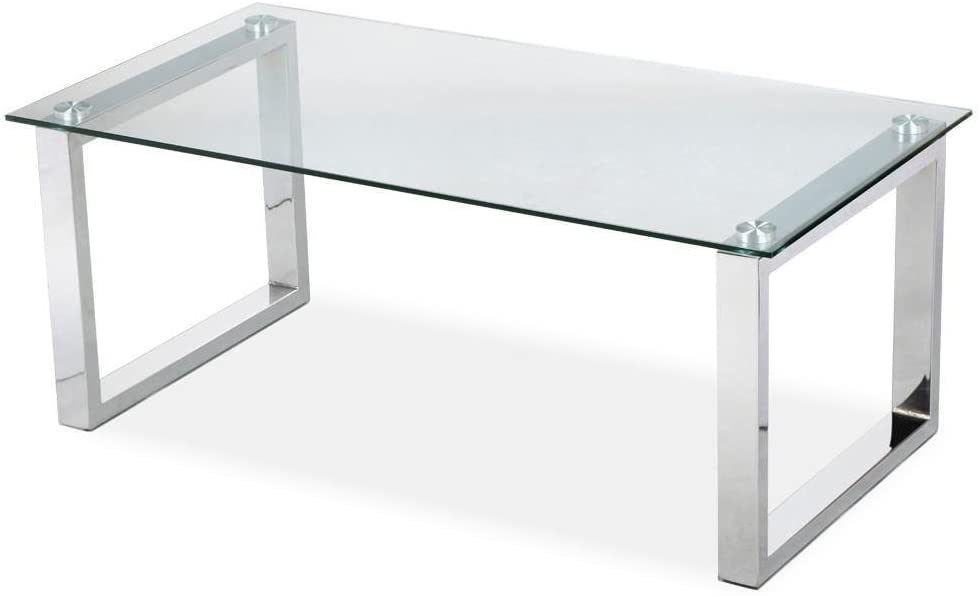 Desk with glass top and metal squared legs