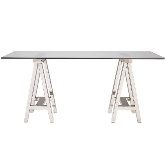 Desk with glass top and metal cross legs