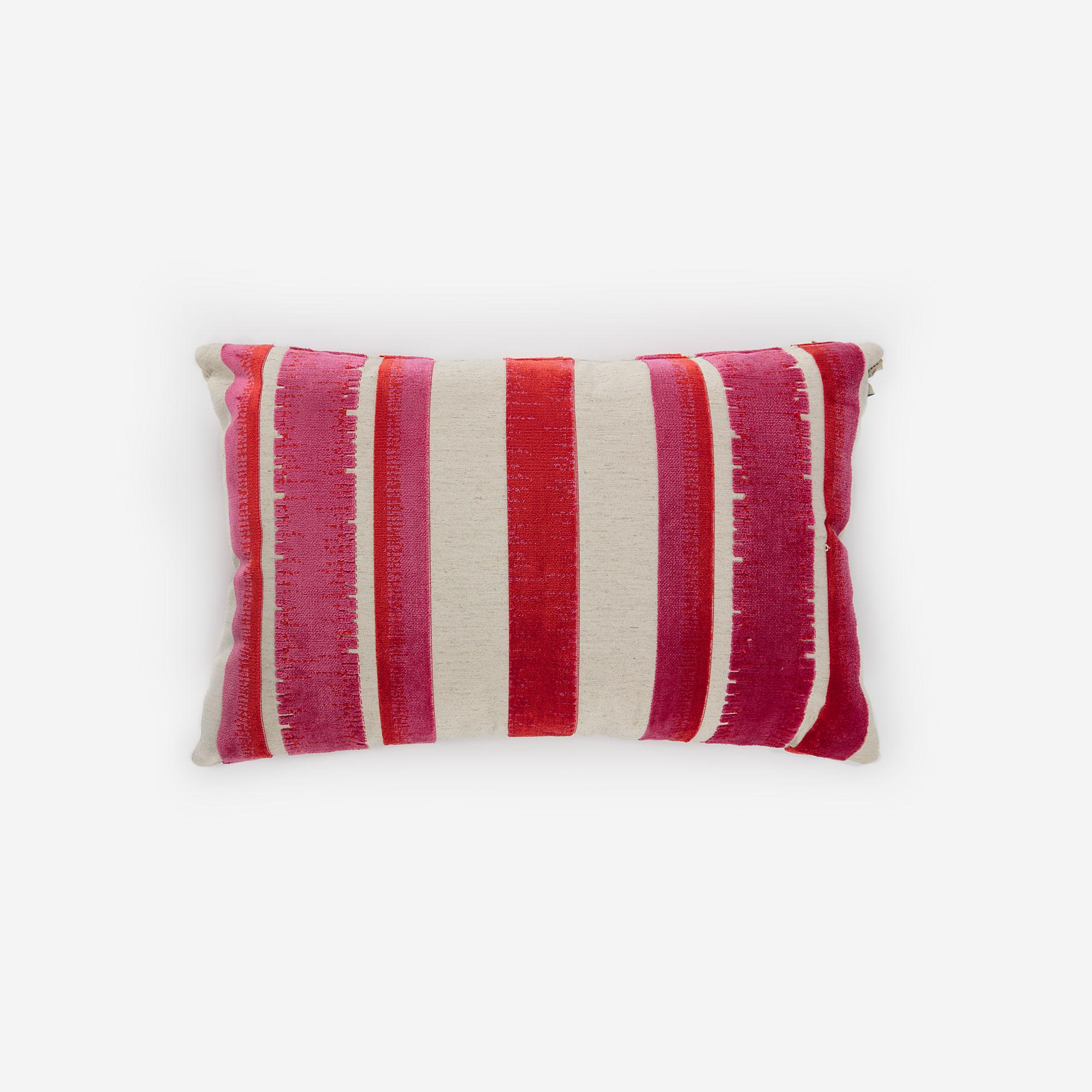 Moss Pink Stripes Cushion