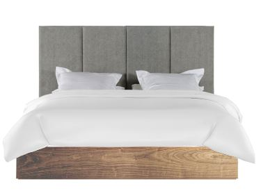 Vertical Panel Headboard with Wooden Bed Base