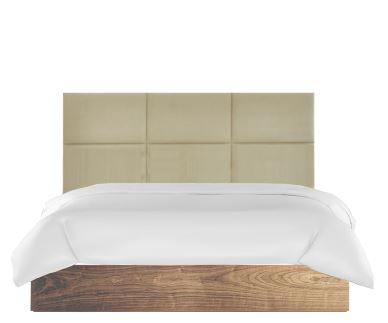 Panel Bed Headboard with Wooden Bed Base