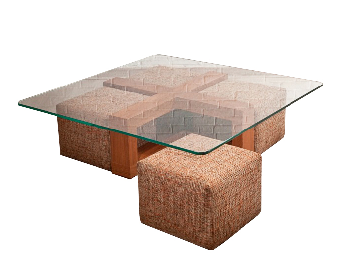 Cross Coffee Table with Poufs