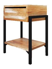 Oak & Metal Bedside Tables