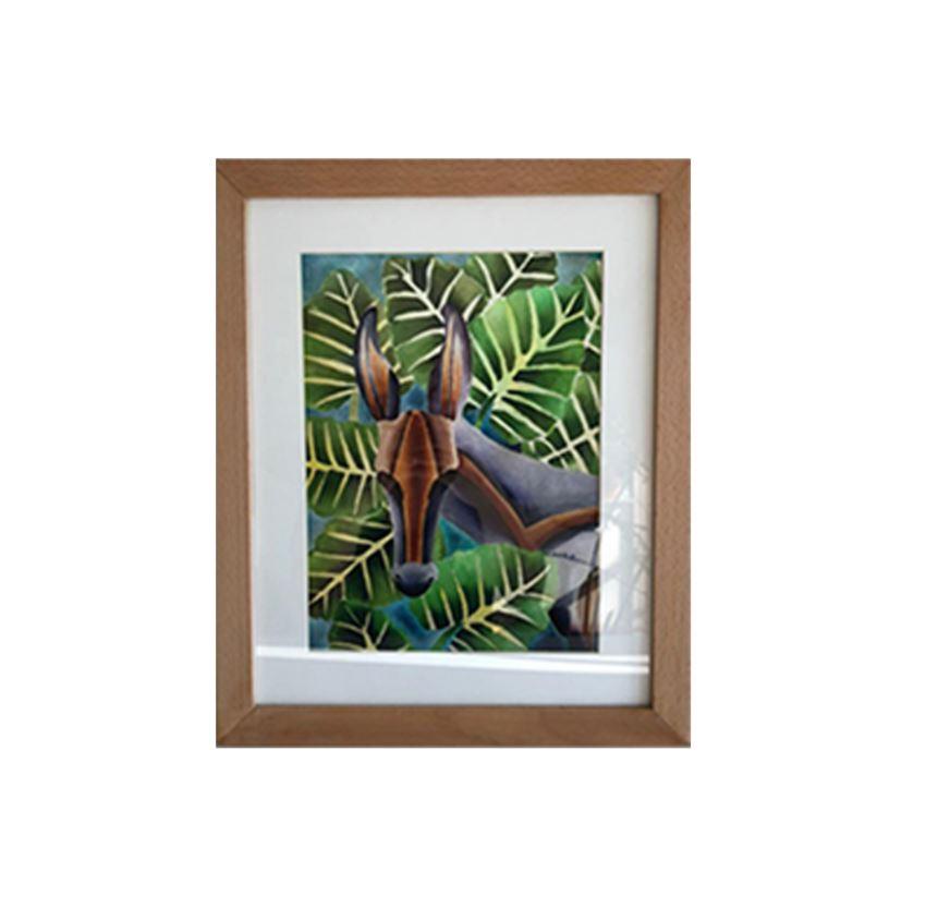 Mule & Colocasia Framed Print